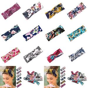 12-Frauen-Yoga-Sport-Haar-Bänder 8 * 24cm Charm Blumenkreuz Haarband gedruckt Knoten Stirnband Wide Brim Haarschmuck CYZ2845 100Pcs