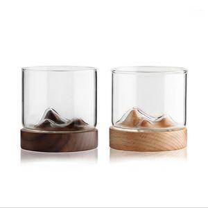 5oz Mountain Wine Glass mug with Wooden chinese mug Bottom Whiskey Glasses Japanese Household Cup wood gift1