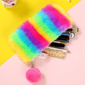 Kawaii Back to School Pencil Case for Girls Pencilcase Cute Plush Pen Bag Korean Cartridge Box Big Rainbow Penal Stationery Kit