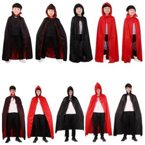 Kids Adults Black Red Death Devil Vampire Cloak Stage Performance Cloak Birthday Party Cosplay Costume Halloween Christmas Xmas