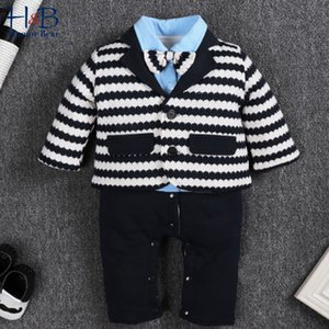 Humor Bear Boys Clothing Sets Winter& Autumn Long Sleeve Gentleman Stripe Jumpsuit + Striped Vest Boy Toddler Baby Kids Clothes Y1113