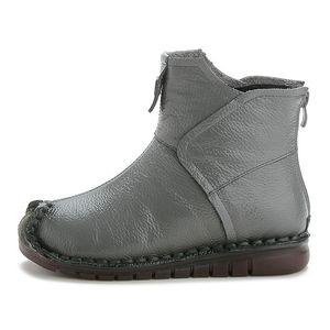 Vendita calda Xiuteng 2020 Inverno Genuine Leather caviglia mano Ricama etnici Scarpe Stile Vintage Women Stivali piatto per il regalo