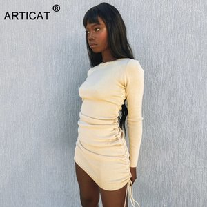 Articat Knitted Drawstring Sexy Bandage Dresses Long Sleeve High Waist Autumn Winter Women Mini Bodycon Party Dress Ruched 200930
