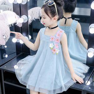 Girls Dress 2020 New Summer Girls Clothes Lace Flower Sleeveless Baby Princess Party Dress Kids Dresses For 92ao#