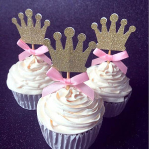 3 pcs pack Prince Party Decorations Gold & Siliver Bow Crown Cupcake Toppers Picks Boys Baby Shower Party Cake Accessory Favor
