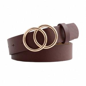 Correas de las mujeres de la correa doble hebilla redonda de cinturón retro decorativos todas correspondan Xm Laur #