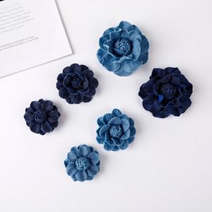 30pcs Handmade hair accessories francy rose flower - denim fabric hair flower- lace jeans flowers garment decoration flower C0930