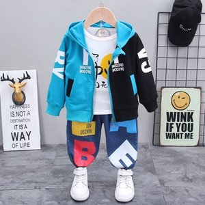 New Spring Children Sport Clothes Baby Boys Girls Patchwork Hoodies Jacket T Shirt Pants 3Pcs Sets Kids Infant Tracksuit 201124