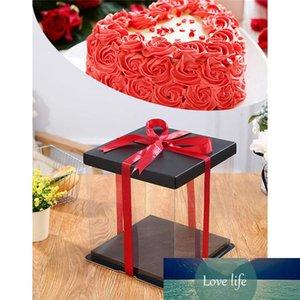 20CM 25CM 35CM Transparent Gift Box Plastic Organizer with Black Lid and Base Rose Bear Flower Birthday Cake Gift Box Favor Box