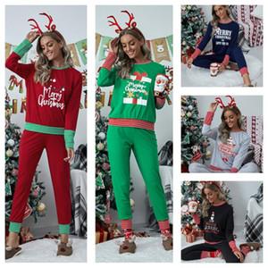 Suit E111104 Legging Artı boyutu Noel Aile Pijama Kadınlar Noel Pijama Patchwork Çizgili İki Parça Setler Kazaklar tişört + pantolon