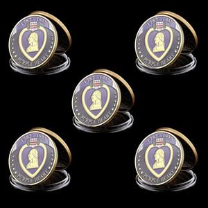 محفظة 5pcs الولايات المتحدة الأمريكية 1782-1932 القلب الأرجواني مكافأة العليا العسكرية الجندي ميدالية مطلية بالذهب تحدي عملة الفن النادرة لوط