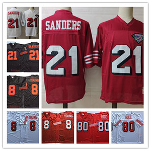Hommes # 8 Steve Young Football Jersey # 21 Stitched Deion Sanders # 80 Jerry Rice Vintage 75ème Jersey