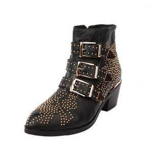 Натуральная кожа с короткими ботинками Женщина грубые с сапогами Женщина острый Заклепка низкий будет кодовой код код1