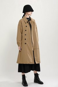 Womens Winter Loose Lapel Neck Long Sleeve Outerwear Clothing Solid Color Single Breasted Fashion Women Coat Thick Trench Coats