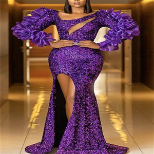 Purple Luxury Evening Dresses Glitter Bling Sequins Ruffles Mermaid Prom Dresses Custom Made Sexy Side Split Long Sleeves Pageant Gown