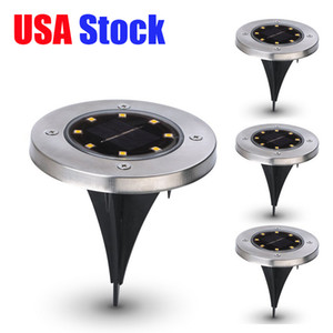 USA Stock Underground Light 8 LED Solar Power Buried Ground Light Lamp Waterproof Outdoor Path Way Garden Lawn Yard Outdoor Lighting