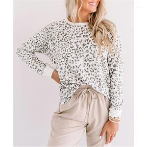 Women's T-Shirt Autumn Leopard Print Long Sleeve Top, Round Neck Loose White Base Women's Pullover, Home Casual T-shirt, Lady Sports St