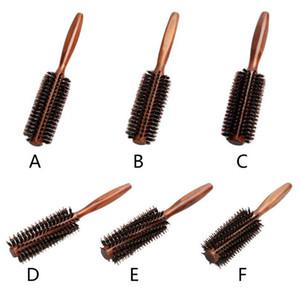 6 Typen gerade Twill Hair Kamm Natürliche Eber Borst Rolling Pinsel Runde Fass Blasen Curling DIY Friseurstyl Wmtrjg