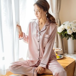Sleepwear Women's Faux Silk Satin Pajamas Set Nightwear Long Sleeve Pajamas Home Clothes Set For women Sleeping Shirt Home Wear 201109