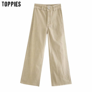 toppies womens white khaki denim pants high waist straight jean pants solid color streetwear 201007
