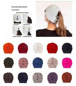 2020 Trendy CC Ponytail Chapeaux Crâne Caps hiver chaud Tricoté Criss Cross Bonnet Fedora Loisirs Mode Outdoor Cap