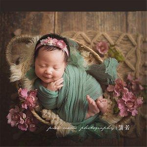 4Cross-border children's photography props newborn full moon anniversary photo mat blanket hand-woven hemp rope square tassel floor mat blan