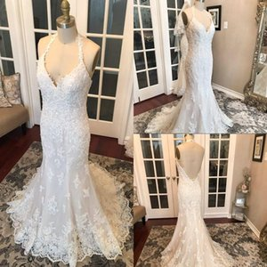 Real Photo Mermaid Wedding Dresses Halter Neck Beaded Sequined Lace Ope n Backless 2021 Designer Bridal Gowns Sweep Train vestido de noiva