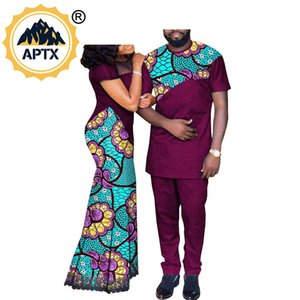Familienliebhaber Bankett CostumeAfrican Paar Kleidung Women`s lange Maxi-Kleid und Men`s Anzug Dashiki Outfits Shirts und Hosen 1022