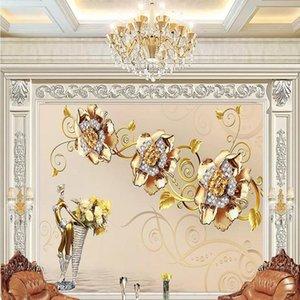 New Custom 3D Large Mural Wallpaper Three-dimensional Golden jewelry flowers children's room TV Background living Bedroom