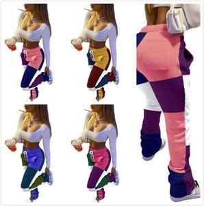 Mulheres Empilhadas Sweatpants Designer De Moda Costura De Contraste Impresso Slim Sports Calças Senhoras Novas Leggings Casual Drawstring