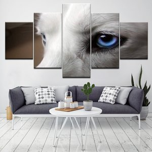 Living Room Modern Decor HD Prints 5 Pieces Animal White Wolf Blue Eyes Paintings Poster Modular Pictures Canvas Wall Art
