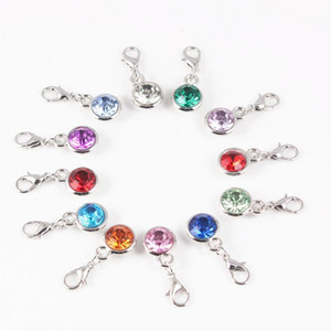 12 Month Round Crystal Birthstone Charms Dangle Charm With Lobster Clasp for DIY Jewelry Making 12pcs lot1