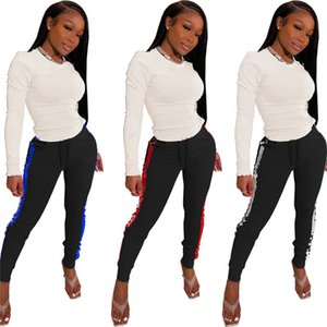 Womens sportswear long sleeve outfits 2 piece set tracksuits pantsuit casual sport suit new hot selling letter womens clothing klw5807