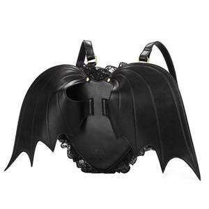 Las mujeres Mochila Mochila del ala del palo del punk con estilo más nuevo bolso de escuela para niñas Bat Angel Wings Bolsa Mochila Pequeño diablo lindo paquete C1023