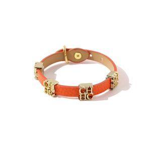 Punk Style Moda Snake Design PU Cuero 316L Acero CH Letra Charms Braceletbangle Para Mujer Joyería al Por Mayor