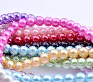 MIX COLORS Round COLORFUL GLASS Pearl Imitation Glass Beads 4mm Loose Beads Jewelry DIY mAKING Fit Bracelets Necklace