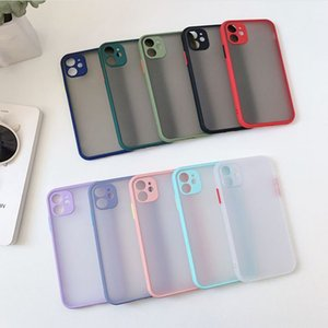 For iPhone 12 Mini 11 Promax XR Xs Max with Camera Lens Protection PC Back Cover Case Soft TPU Bumper Matte Case