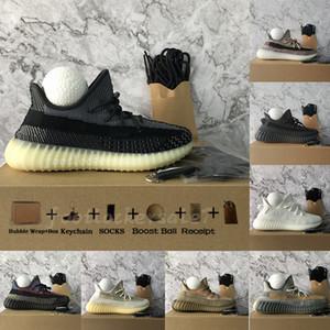 Con la caja 2021 Asriel Carbono Negro Natural estático reflectante Formadores Kanye West V2 de fundido de la escoria para hombre zapatos corrientes 36-48 zapatillas de deporte 700/2