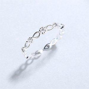 Japanische und koreanische Mode S925 Pure Silver Ring Damen Simple Plain Silber Dünn Ring Trendsetter's Eröffnung Persönlichkeit Vielseitige Diamanten