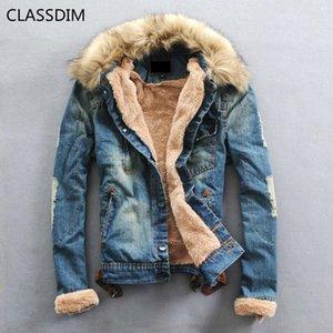 Classdim Fat Männer Casual Winter Denim Jean Jassen Neue Mode Warme Jena Jacken