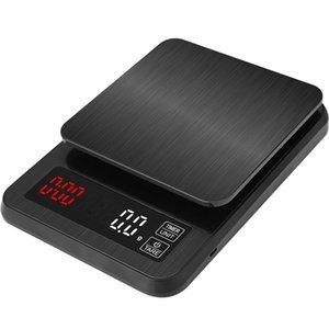balanza de cocina electrónica de la precisión de 5 kg / 0,1 g 10kg / 1g Escala de café de filtro digital LCD con temporizador peso Escala del balance del hogar