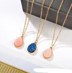 Fashion Jewelry Drusy Teardrop Charm Pendant Choker Necklace Waterdrop Geometric Gold Plated Chain Statement Necklace For Women Lady