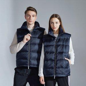 Logo 20FW Europeia Jacquard Down Vest completa Printing Outwear Quente Brasão de Down Moda High Street Casal Mulheres Homens Coletes HFXHMJ008