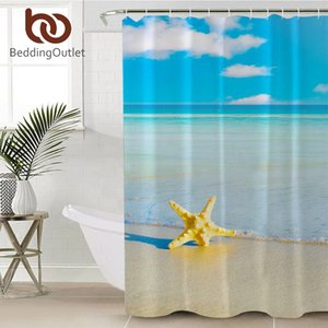 BeddingOutlet Ocean Starfish Shower Curtain Beach Print Waterproof Bathroom Curtain Polyester Fabric With Hooks Home Decor Towel