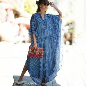 2020 causal rayada botón V-cuello delantero abierto de playa del verano vestido de algodón azul de la túnica de las mujeres más el tamaño de vestidos de ropa Maxi N1097