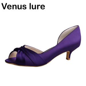 New Design Purple Wedding Dresses for Women Low Heel Prom Court Shoes Peep Toe