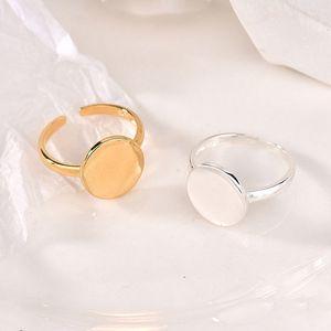 Retro Irregular Round Circle Geometric Ring Gold Silver Color Open Finger Ring for Women Men
