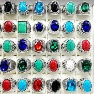 New 30pcs pack Turquoise Ring Mens Womens Fashion Jewelry Antique Silver Vintage Natural Stone Ring Party Gifts