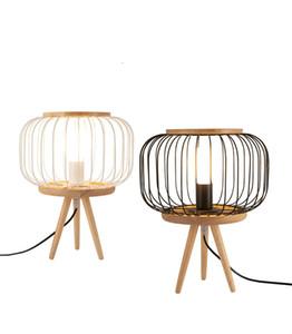 Art Deco Table Lamp Solid Wood Metal Table Light Living Room E27 D30cm H38cm Small Desk Light Black White