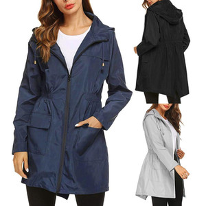2020 New Women's Lightweight Raincoat for Women Waterproof Jacket Hooded Outdoor Hiking Jacket Long Rain Jackets Active Rainwear